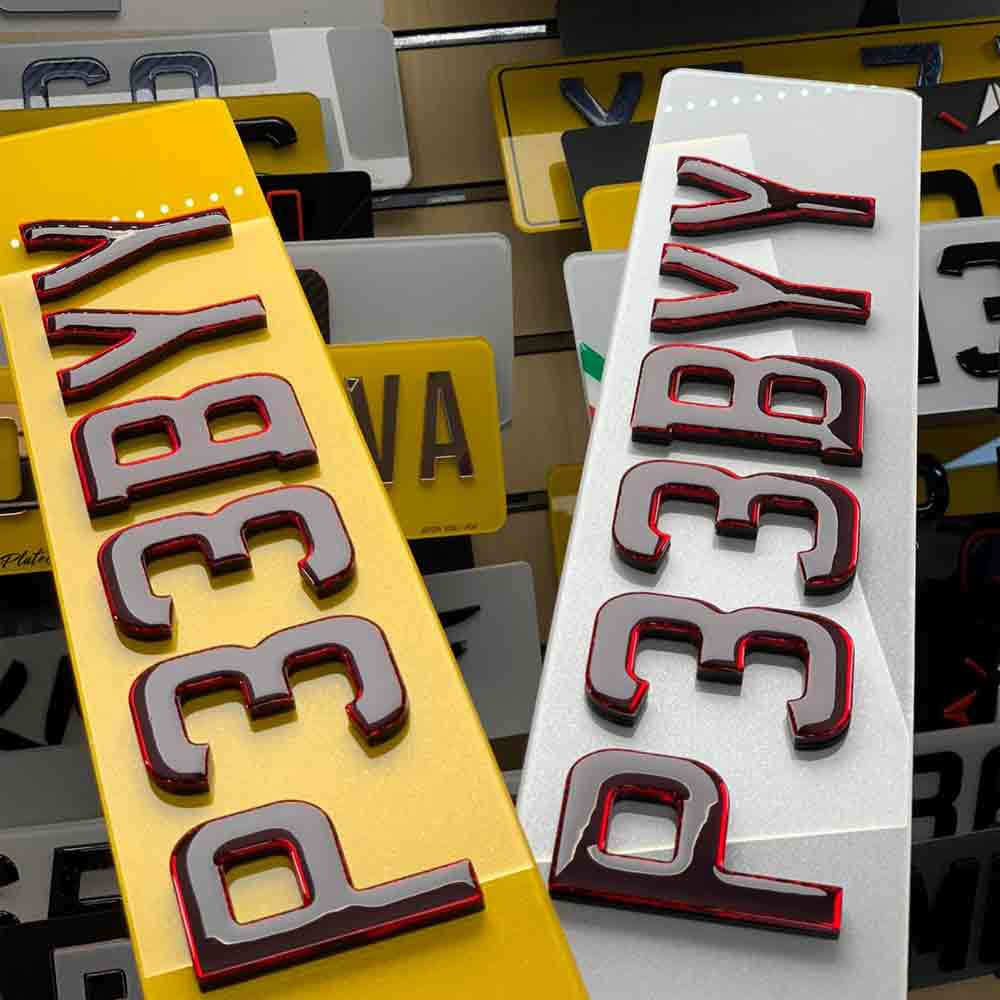 4D NEON RED Number Plates for sale